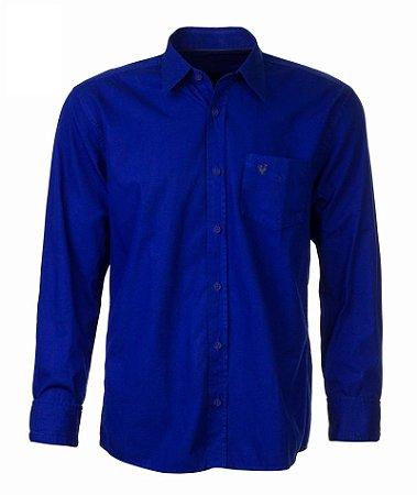 Camisa Made in Mato Masculina com Bolso Azul Indigo com Bolso