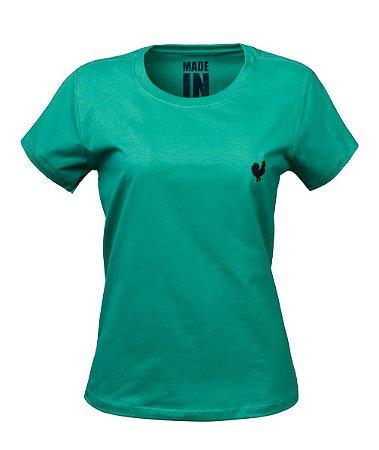 Camiseta Made in Mato Baby Look Básica Verde Esmeralda