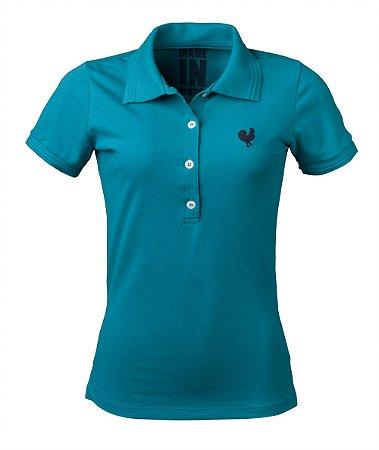 Camisa Polo Feminina Made in Mato Turquesa