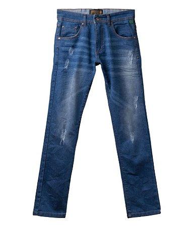 Calça Jeans Masculina Made in Mato Lavagem Clara com Detalhes