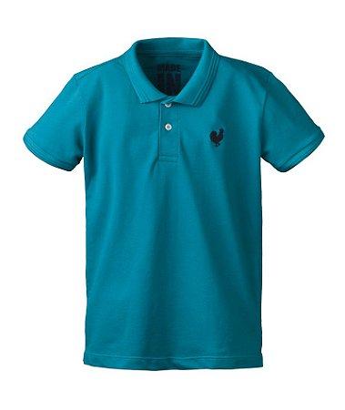 Camisa Polo Made in Mato Infantil Turquesa