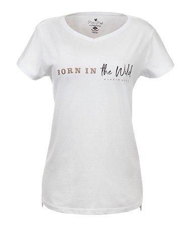 Camiseta Long Feminina Estampada Wild Branca