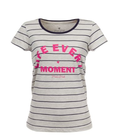 Camiseta Long Feminina Estampada Life Every Moment Mescla