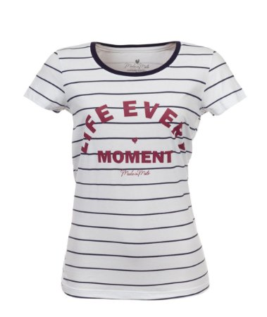 Camiseta Long Feminina Estampada Life Every Moment Branca