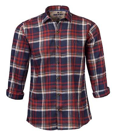 Camisa Masculina Xadrez Made in Mato Vermelha e Azul