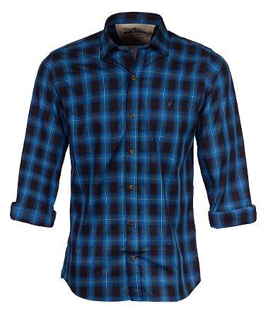Camisa Made in Mato Masculina Xadrez Mirai Azul