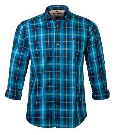Camisa Made in Mato Manga Longa Xadrez Azul