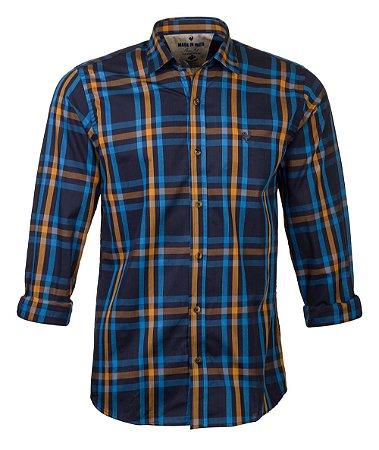 Camisa Made In Mato Manga Longa Xadrez Amarela e Azul