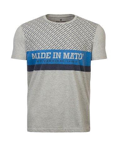 Camiseta Made in Mato Listrada Mescla Claro com Estampa nas Costas