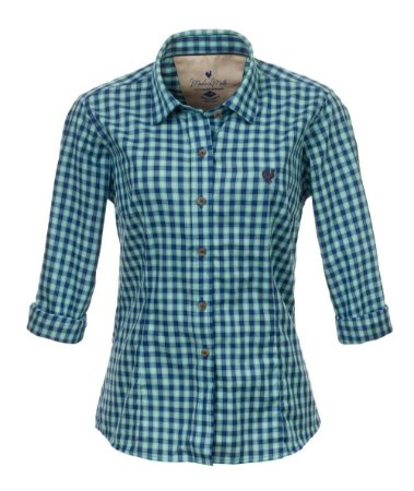 Camisa Feminina Made in Mato Xadrez Mix Azul