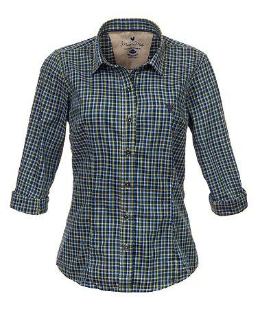 Camisa Feminina Made in Mato Xadrez Verde Mix