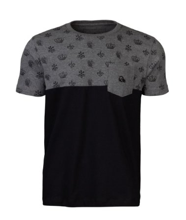 Camiseta com Bolso Crown Preta e Mescla