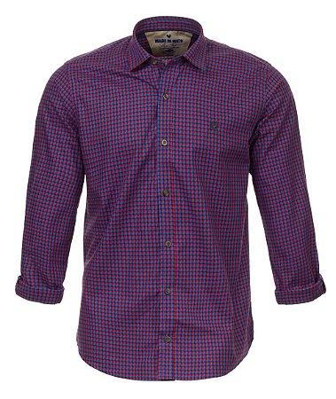 Camisa Masculina Made in Mato Xadrez Mix Roxa