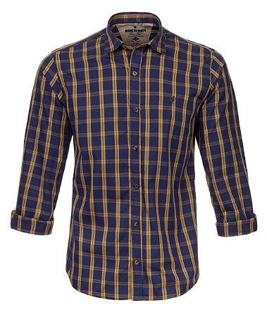 Camisa Made in Mato Masculina Xadrez Marinho e Amarela
