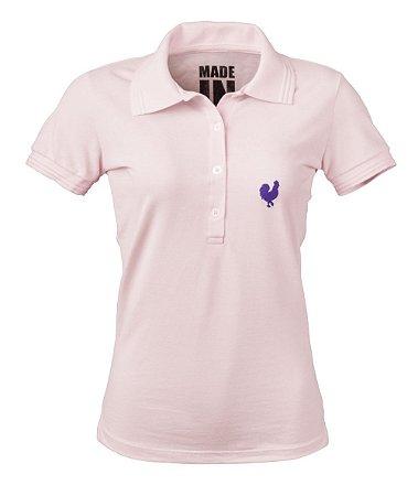 Camisa Polo Feminina Made in Mato Rosa Claro