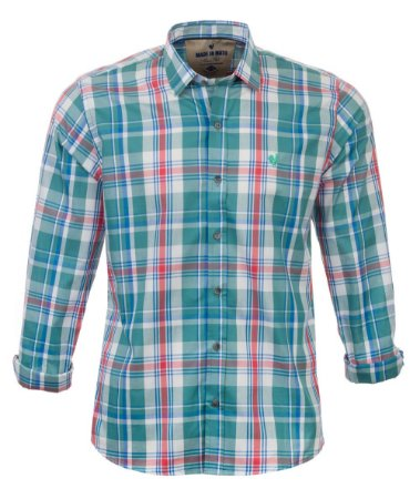Camisa Masculina Made in Mato Xadrez Verde Água