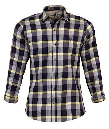 Camisa Made in Mato Flanelada Xadrez Preto e Amarelo