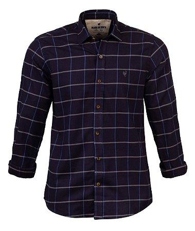 Camisa Made in Mato Flanelada Xadrez Blue Night