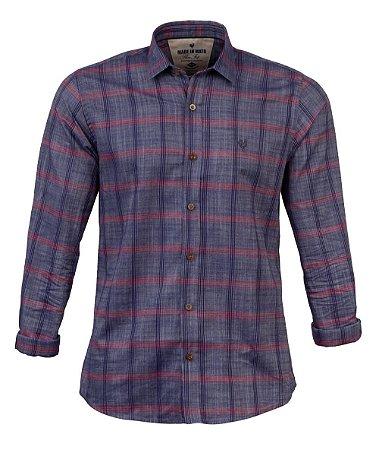 Camisa Made in Mato Flanelada Xadrez Azul Jeans