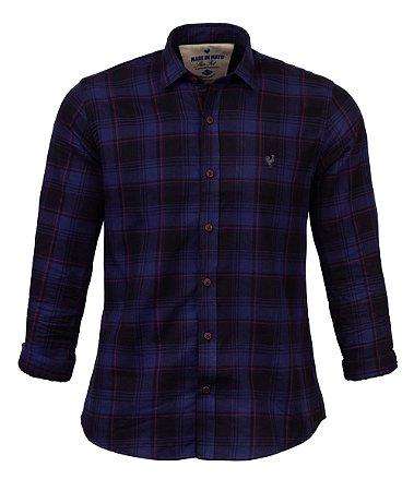 Camisa Masculina Made in Mato Flanelada Xadrez Dark Marinho