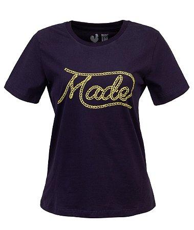 Camiseta Feminina Made in Mato Laço Marinho