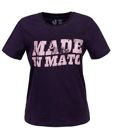 Camiseta Feminina Made in Mato Rosé e Marinho