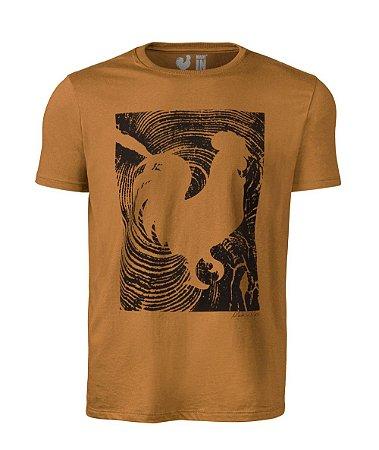Camiseta Estampada Made in Mato Masculina Marrom