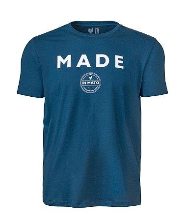 Camiseta Estampada Made in Mato Circle Azul Petróleo