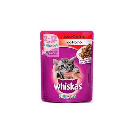 Sache Gatos Filhote Sabor Carne ao Mollho 85gr - Whiskas