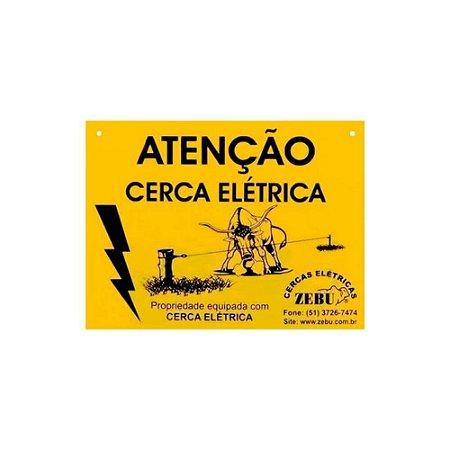 Placa de Alerta para Cerca Elétrica - Zebu