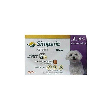 Antipulgas Simparic 10 mg - Caes 2,6kg - 5kg - 3 comprimidos - Zoetis