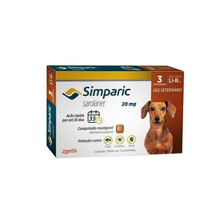 Antipulgas Simparic 20 mg - Caes 5,1kg - 10kg - 3 comprimidos - Zoetis