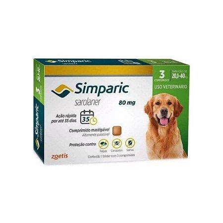 Antipulgas Simparic 80 mg - Caes 20,1kg - 40kg - 3 comprimidos - Zoetis
