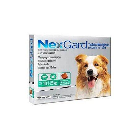 Nexgard Antipulgas e Carrapatos Mastigavel 10,1kg a 25kg - 03 comprimidos - Merial