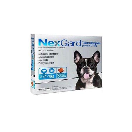 Nexgard Antipulgas e Carrapatos Mastigável 4,1kg a 10kg - 03 comprimidos - Merial