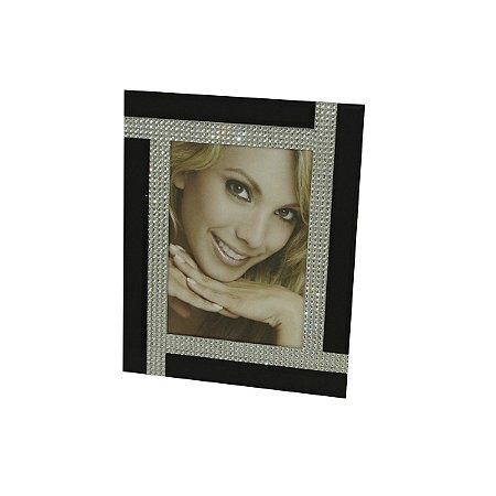 Porta Retrato Preto c/ Strass 13x18 Cm