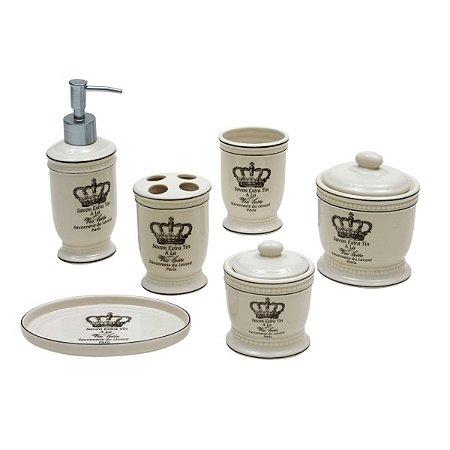 Kit Banheiro Porcelana 6 Pçs