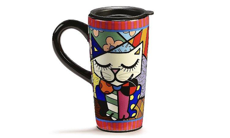 Romero Britto Caneca Cerâmica p/ Viagem Gato