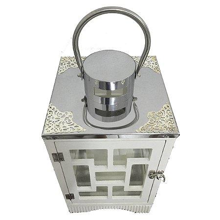 Lanterna Branca c/ Prata 34 Cm
