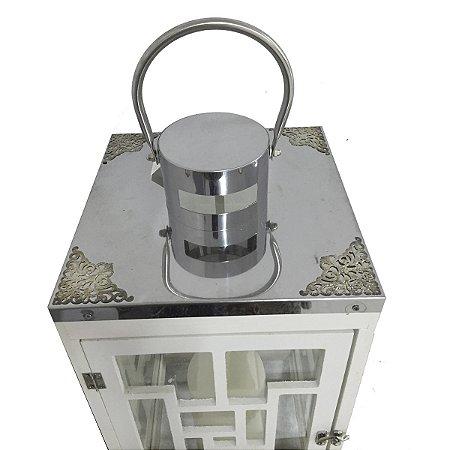 Lanterna Branca c/ Prata 52 Cm
