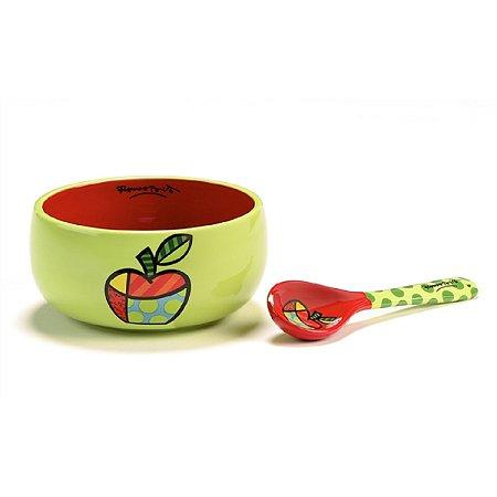 Romero Britto Bowl Cerâmica c/ colher Maçã