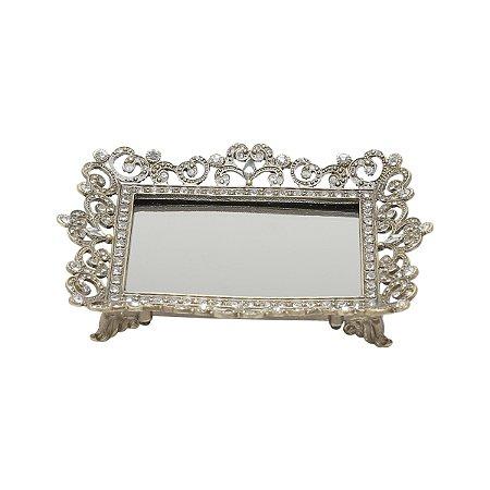 Bandeja espelhada c/ borda 14,5cm