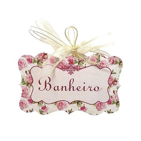 Placa Banheiro Floral Rosa