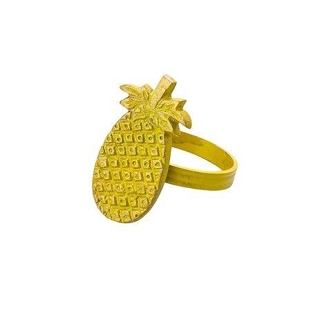 Jogo 4 anéis p/ guardanapo abacaxi amarelo