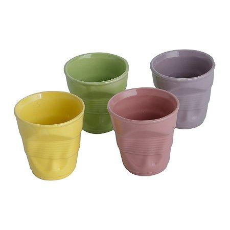 Jogo 4 xícaras Cups Coloridas 86ml