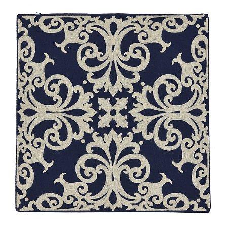 Capa Almofada Azul c/ Estampa Branca