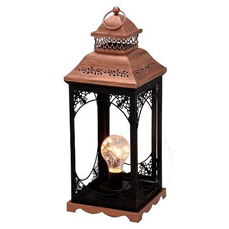 Lanterna Decorativa Cobre e Preto 40cm