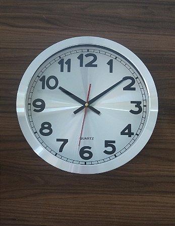 Relógio de Parede Metálico Prata
