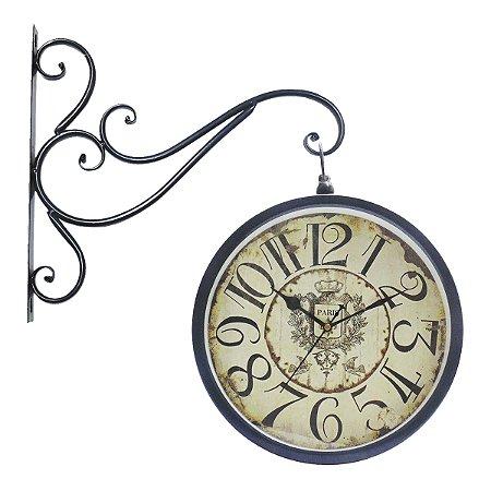 Relógio Parede Metálico Redon Central Azul