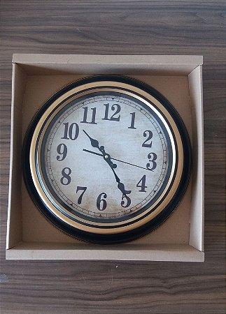 Relógio Parede Redondo Preto c/ Dourado
